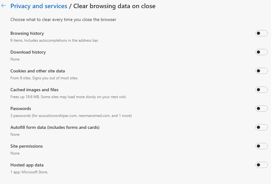 """screenshot of items you can set to automatically clear when you close your browser for option """"clear browsing data"""""""