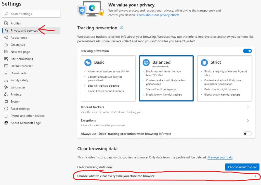 screenshot of clear browsing data. While in the Settings menu, click Privacy and services, then click Choose what to clear every time you close the browser