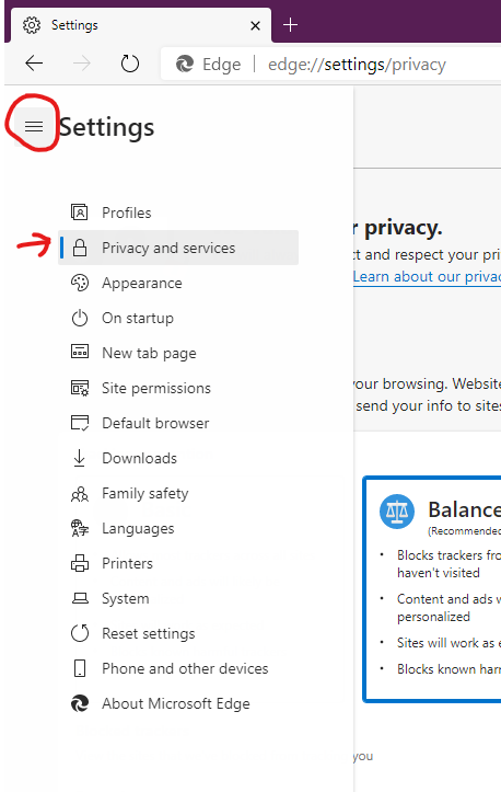 On smaller screens, click the hamburger icon next to Settings, then click Privacy and services