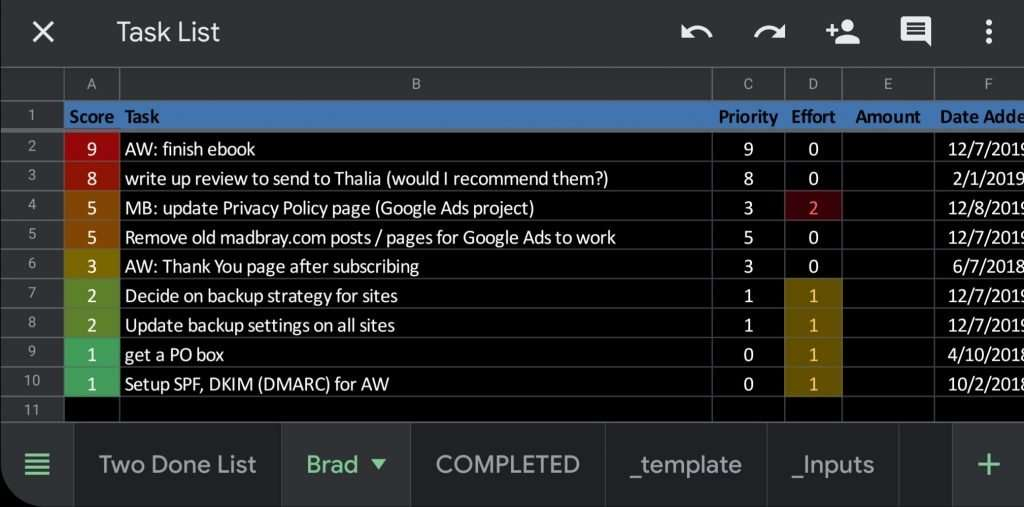 screenshot of Task List spreadsheet showing color-coded list of prioritized tasks