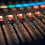 black and brown audio mixer